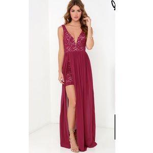 Lulu's burgundy lace/chiffon dress
